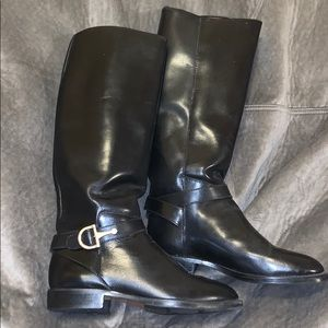 Nine West black leather boots with gold buckle